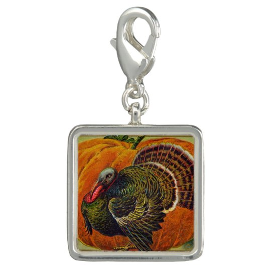 Thanksgiving Turkey in front of a Orange Pumpkin Photo Charms