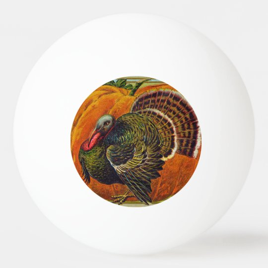 Thanksgiving Turkey in front of a Orange Pumpkin Ping Pong Ball