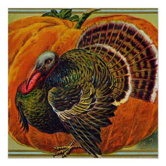 Thanksgiving Turkey in front of a Orange Pumpkin Poster