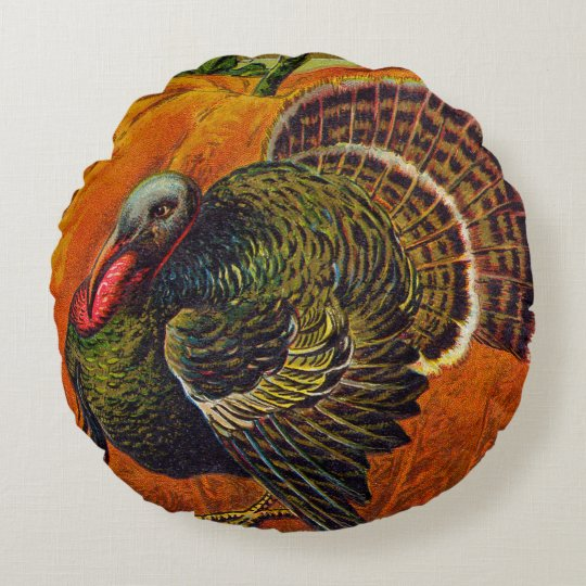Thanksgiving Turkey in front of a Orange Pumpkin Round Pillow