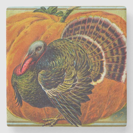 Thanksgiving Turkey in front of a Orange Pumpkin Stone Coaster