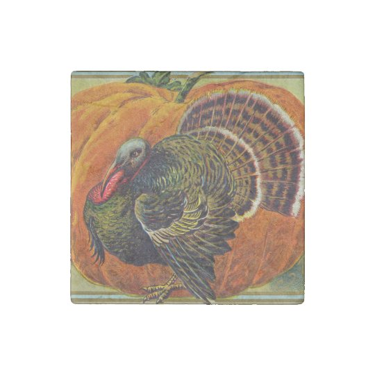 Thanksgiving Turkey in front of a Orange Pumpkin Stone Magnets