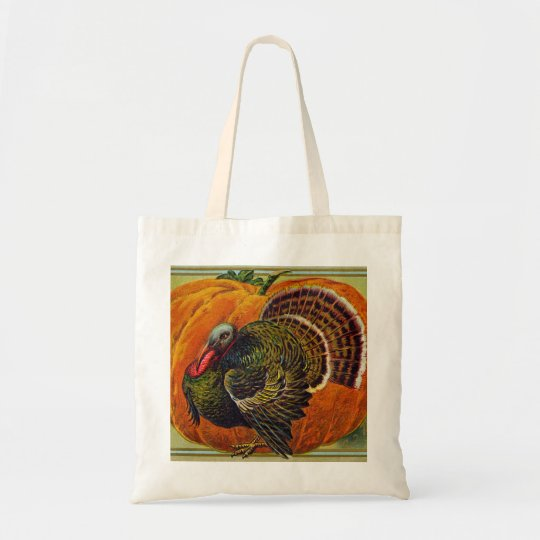 Thanksgiving Turkey in front of a Orange Pumpkin Tote Bag