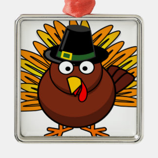 Thanksgiving Turkey Logo Create a Holiday Gift Silver-Colored Square Ornament