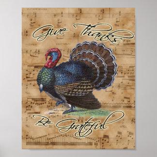 Thanksgiving Turkey on Vintage Music Sheet Poster
