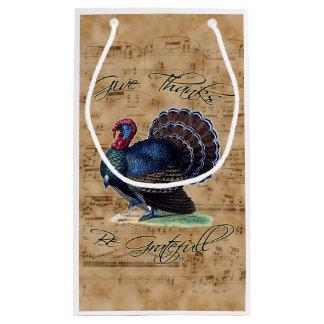 Thanksgiving Turkey on Vintage Music Sheet Small Gift Bag