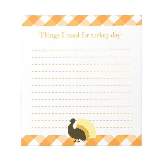 Thanksgiving turkey orange gingham shopping list notepad