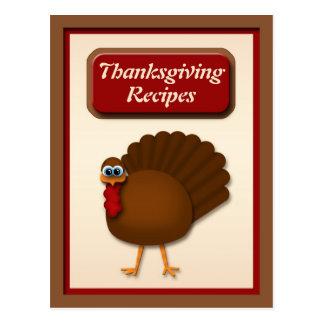 Thanksgiving Turkey Recipe Cards Postcard