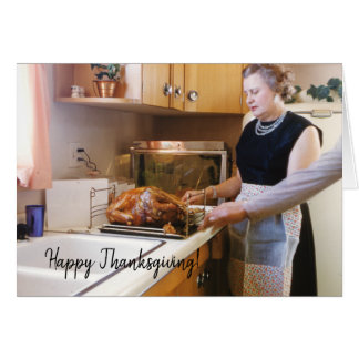 Thanksgiving Turkey Retro Family Holiday Greetings Card