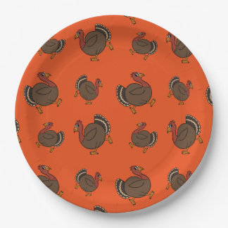 Thanksgiving Turkey Trot Orange Paper Plates