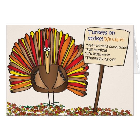"Thanksgiving ""Turkeys on Strike"" Cartoon Cards"
