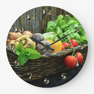 Thanksgiving Vegetable Harvest in a Basket Large Clock