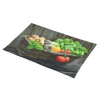 Thanksgiving Vegetable Harvest in a Basket Placemat