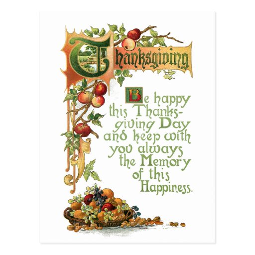 Thanksgiving Verse and Harvest Fruit Post Card