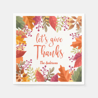 THANKSGIVING WATERCOLOR FOLIAGE FRAME PERSONALIZED DISPOSABLE NAPKIN