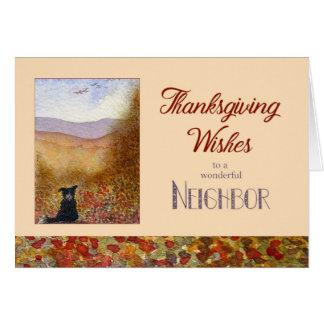 Thanksgiving Wishes Neighbor - Sheepdog Autumn Card
