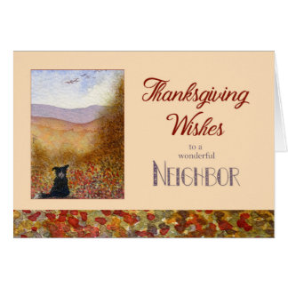 Thanksgiving Wishes Neighbour - Sheepdog Autumn Card