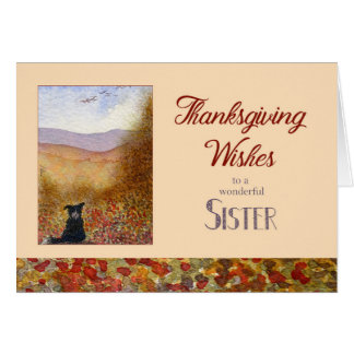 Thanksgiving Wishes Sister, Border Collie dog Card