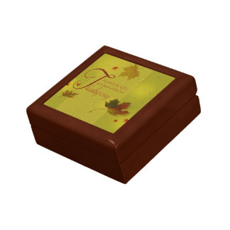 Thanksgiving Wishes Typography Leaf Tile Gift Box