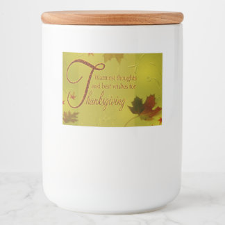 Thanksgiving Wishes Typography Leaves - Food Label
