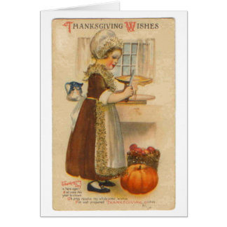 Thanksgiving Wishes Vintage Greeting Card