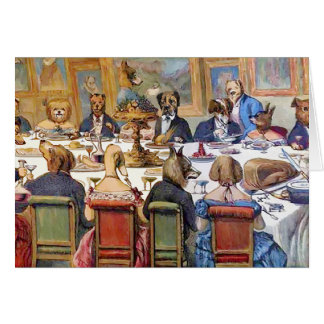 """Thanksgiving with Dogs aka """"Dogs Dinner Party """" Greeting Card"""