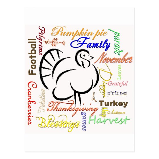Thanksgiving words postcard