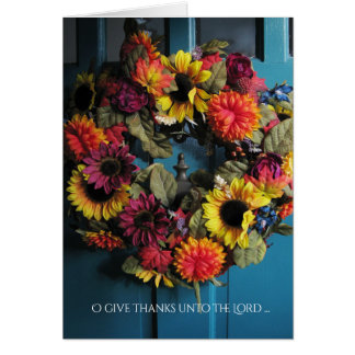 Thanksgiving Wreath Card, with Bible Verse Card