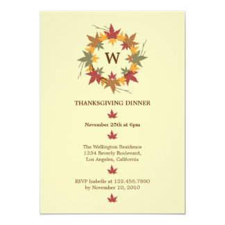"Thanksgiving Wreath Dinner Party Invitation 5"" X 7"" Invitation Card"