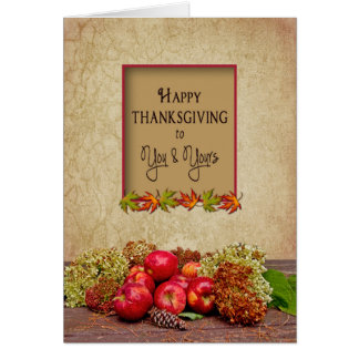 Thanksgiving -You and Yours Apples/Hydrangeas Fall Greeting Card