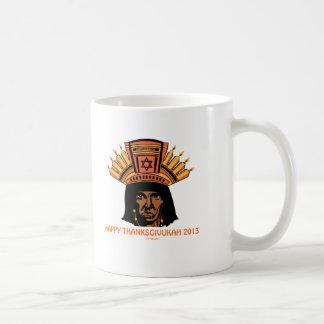 THANKSGIVUKAH INDIAN MENORAH MAN COFFEE MUG
