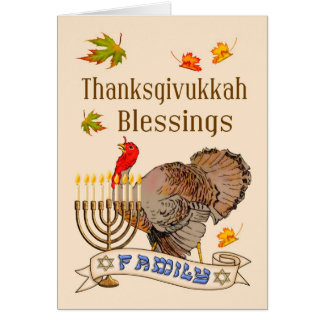 Thanksgivukkah Blessings Card - Turkey & Menorah