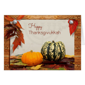 Thanksgivukkah Blessings with Gourds Photo Card