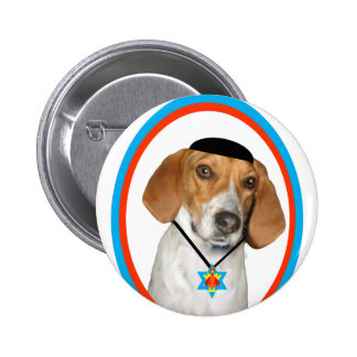 Thanksgivukkah Funny Hound Dog with Yamaka 2 Inch Round Button