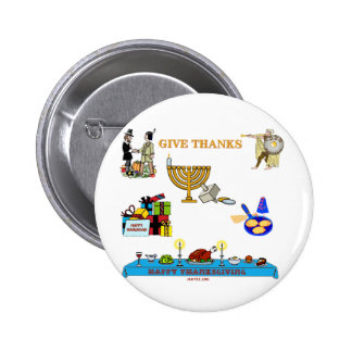 THANKSGIVUKKAH GIVE THANKS GIFTS  FOR HANUKKAH 2 INCH ROUND BUTTON