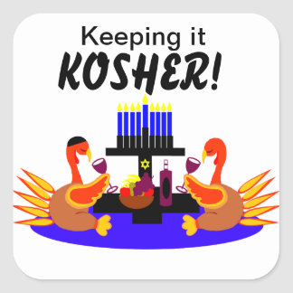 Thanksgivukkah  Stickers Wine Toasting Turkeys