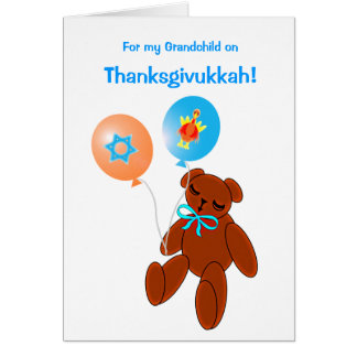 Thanksgivukkah Teddy Bear Baby Greeting Card