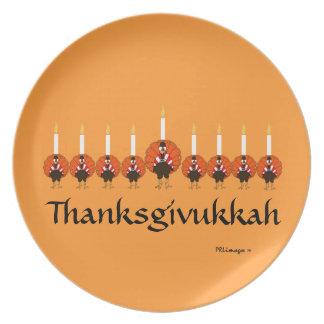Thanksgivukkah Turkey Menorah Melamine Plate