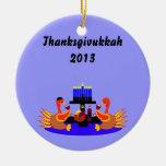 Thanksgivukkah Wine Toasting Turkeys Ornament