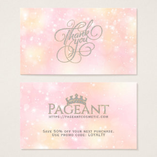 ThankYou Typography Pastel Sparkly Background Business Card
