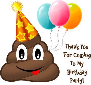 ThankYou Yellow Party Poop Emoji Birthday Stickers