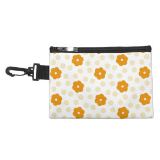 """That 70's Era"" Orange Flowers- Clip-on+Travel+Bag Accessory Bag"