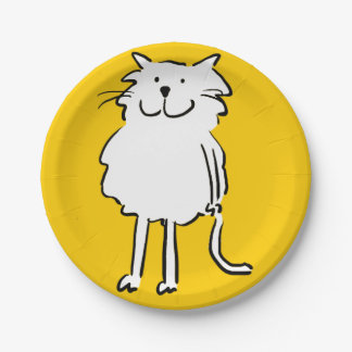 That Cat cartoon. Cat on a yellow plate 7 Inch Paper Plate