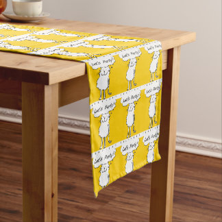 "That Cat, standing and smiling, says ""Let's party! Short Table Runner"