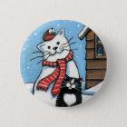 That Pesky Robin - Xmas Cat Art Button