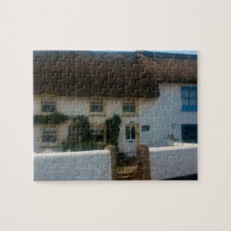 Thatched Cottages at Coverack Cornwall England Puzzle