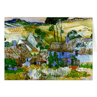 Thatched Cottages by a Hill Van Gogh Fine Art Card