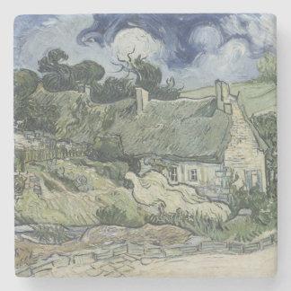 Thatched Cottages Cordeville by Vincent Van Gogh Stone Beverage Coaster