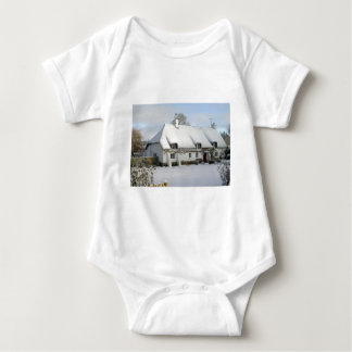 Thatched English Cottage in Snow Baby Bodysuit
