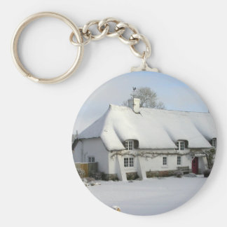 Thatched English Cottage in Snow Basic Round Button Keychain